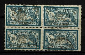 France SC# 130 Block of 4 - Used (Light creasing / Perf Separation) - Lot 081317