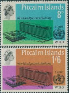 Pitcairn Islands 1966 SG59-60 WHO building set MLH