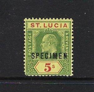 ST. LUCIA SCOTT #56 1902-03 EDWARD VII 5 SHILLING SPECIMEN- MINT XTRA LH