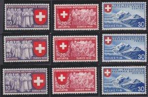 Switzerland 247-255 MNH (1939)