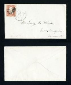 Cover from Woodstock, Vermont to East Montpelier, Vermont dated 5-5-1860's