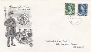 GBP103) FDC GB 1967, Wales, new stamp values, Tower of London & Yeoman of the Gu