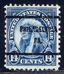 Philadelphia PA, 695-61 Bureau Precancel, 14¢ Indian