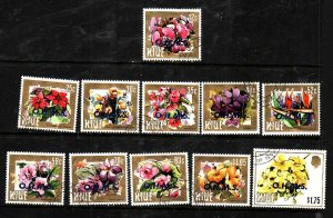 Niue-Sc#O1-O11- id5-used Official short set to $1.75-Flowers-1985-7-