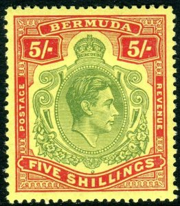 BERMUDA-1950 5/- Green & Scarlet/Yellow Perf 13.  A mounted mint example Sg 118g