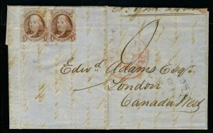 MALACK 1 VF/XF, Two Singles on Cover to Canada,  bot..MORE.. b3072