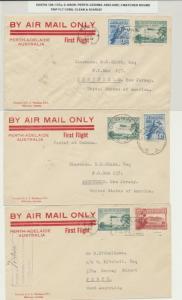 AUSTRALIA 1929 FLIGHT COVER(3)PERTH-CEDUNA-ADELAIDE, MATCHED ROUND TRIP COVERS