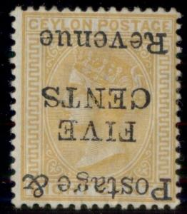 CEYLON #118a, 5¢ on 8¢ orange, INVERTED OVPT, og, hinged, rare stamp, signed,