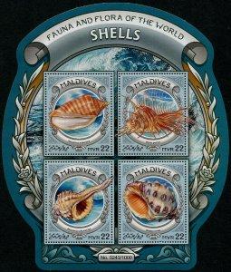 HERRICKSTAMP NEW ISSUES MALDIVES Sc.# 3610 Shells Sheetlet of 4 Different