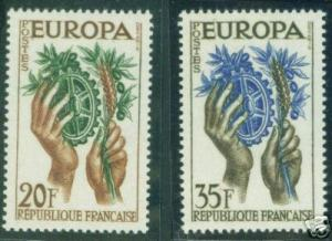 France  Scott 846-7  MNH** Europa 1957 set CV 2,15 Euro
