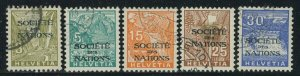 Switzerland 1934 League of Nations Officials set Sc# 2O42-46 used