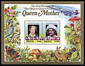 Union Island 212, MNH, Queen Mother's 85th Birthday souvenir sheet