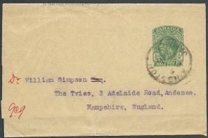 JAMAICA 1928 GV ½d wrapper used Kinston to UK..............................64362
