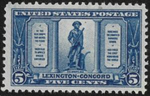 US #619 M/NH Lexington Concord 45% of Cat.$35.00 **FREE SHIPPING**