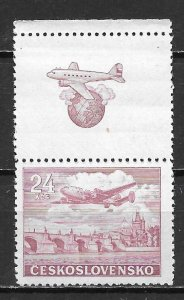 Czechoslovakia C26 24k Plane Tab single MNH