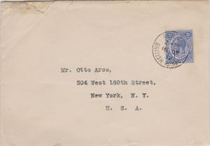 British Honduras 5c KGV 1932 Belize, British Honduras to New York, N.Y. Tears...