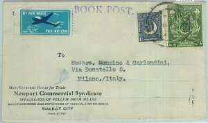 86180 - PAKISTAN - POSTAL HISTORY -  BOOK POST Airmail Cover  to ITALY 1955