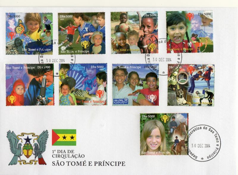 Sao Tome and Principe 2004 International Year of the Child (ICY) Set (9) FDC