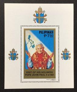 Philippines 1981 #1511 S/S, Pope John Paul II, MNH.