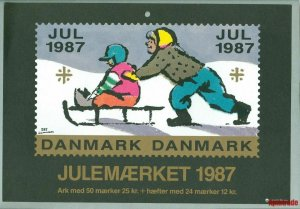 Denmark. Christmas Seal. 1987.1 Post Office,Display,Advertising Sign. Sled Child