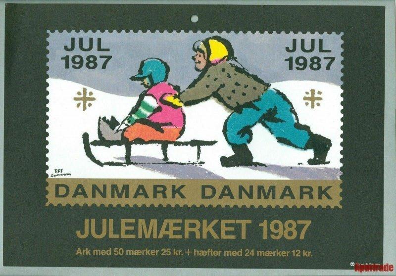 Denmark. Christmas Seal. 1987.1 Post Office,Display,Advertising Sign. Sled Child