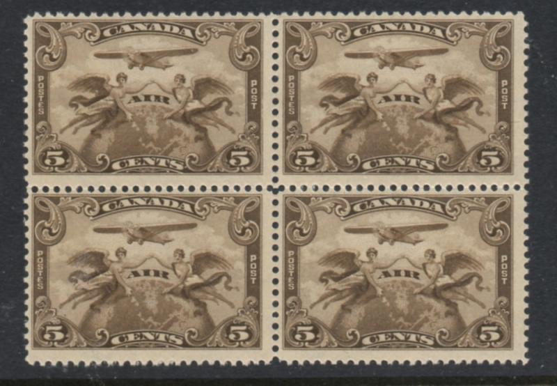 Canada Sc C1 1928 5 c airmail stamp block of 4 mint NH