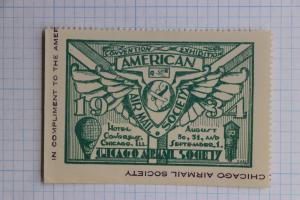 Chicago Airmail Society 1934 American expo Poster Compliment ad convention DM