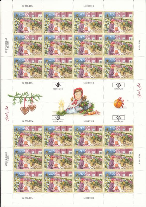 Aland 2014 MNH Complete Sheet of 24 Christmas Market