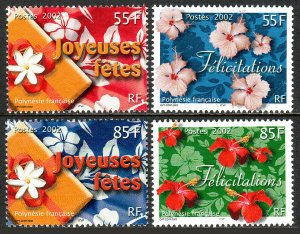 French Polynesia 817-820, MNH. Happy Holidays, Greetings, 2002