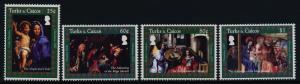 Turks & Caicos 1477-80 MNH Christmas, Art, Paintings