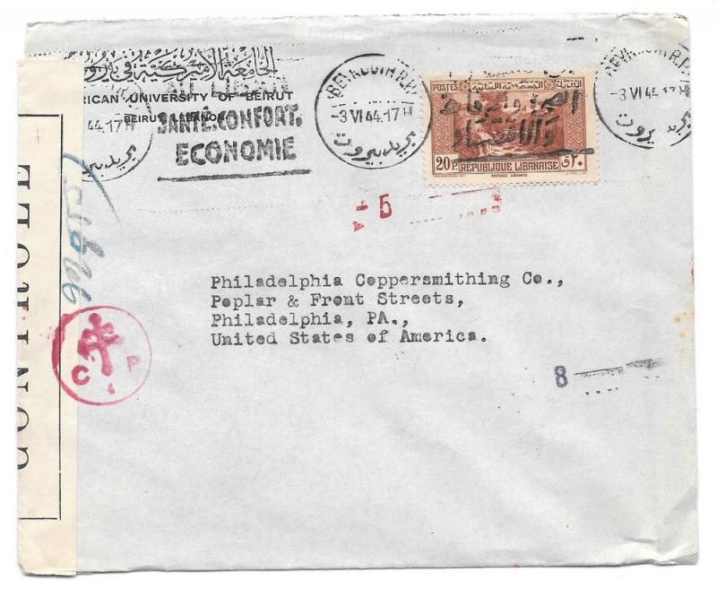 Lebanon Liban Censored Cover 1944 Beirut to US Slogan Cancel