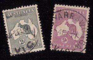 Australia Two Stamps Used Sc #45,50 Kanga Roo Stamps 2p & 9p F-VF