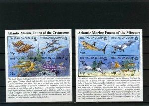 TRISTAN DA CUNHA 1997-1998 FISH & MARINE LIFE 2 SHEETS OF 4 STAMPS MNH