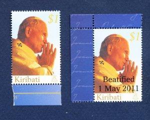 KIRIBATI - Scott 871 & 983  - FVF MNH - Pope John Paul II -  2005