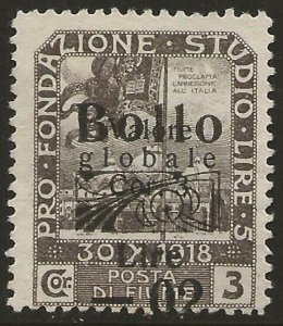 Fiume 1920 Revenue BOLLO Ovpt + Surch. 0.02L/3c Var. Slightly SHIFTED OVPT