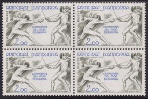 French Andorra #290 1981 Fencing Championships Block MNH