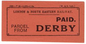 (I.B) London & North Eastern Railway : Carriage Paid Parcel (Derby)