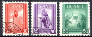Iceland Sc# B6a-B6c Used 1938 Leif Ericsson Day