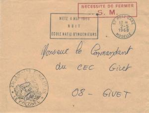France Military Free Mail 1968 57 Metz Gare, Moselle Nuit Ecole Natle d'Ingei...