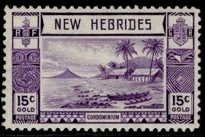 NEW HEBRIDES GVI SG54, 15c bright violet, M MINT.