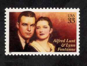 3287 Alfred Lunt & Lynn Fontanne US Single Mint/nh FREE SHIPPING