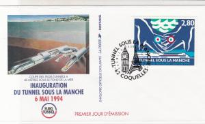 France 1994 Inaug Channel Tunnel Pic Slogan Cancel + Stamp FDC Cover Ref 31720