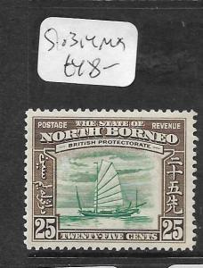 NORTH BORNEO  (PP0104B)  25C  BOAT  SG 313    MOG