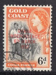 Ghana   #9  1957  used  6 d. Goldcoast stamp with independence overprin t