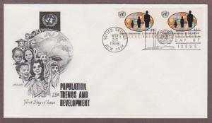 UN # 153 , Population Trends Pair on Artmaster FDC - I Combine S/H