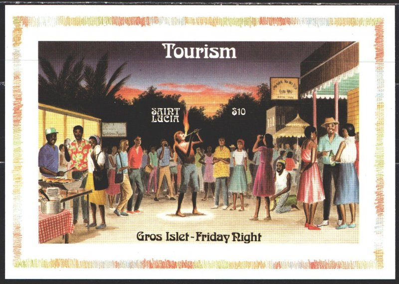 St Lucia. 1986. bl51. Tourism, magician, carnival. MNH.