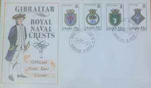 GIBRALTAR FIRST DAY COVER 1987 ROYAL NAVY CRESTS (6th series)
