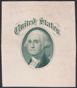 #79-E36a VIGNETTE DIE ESSAY ON WHITE GLAZED PAPER (GREEN) WL4779