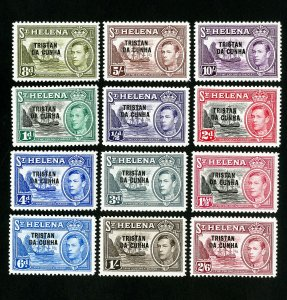 Tristan da Cunha Stamps # 1-12 VF Full set OG LH Scott Value $85.00