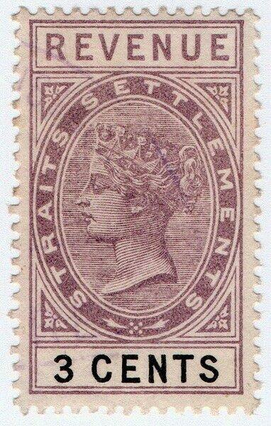 (I.B) Malaya (Straits Settlements) Revenue : Duty Stamp 3c